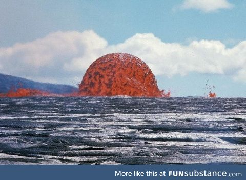 This photo captures a rare sight of a 65-foot-tall Lava Dome in Hawaii. Symmetrical dome