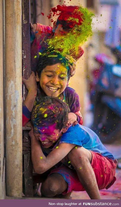 Children celebrating the festival of colours (Holi)