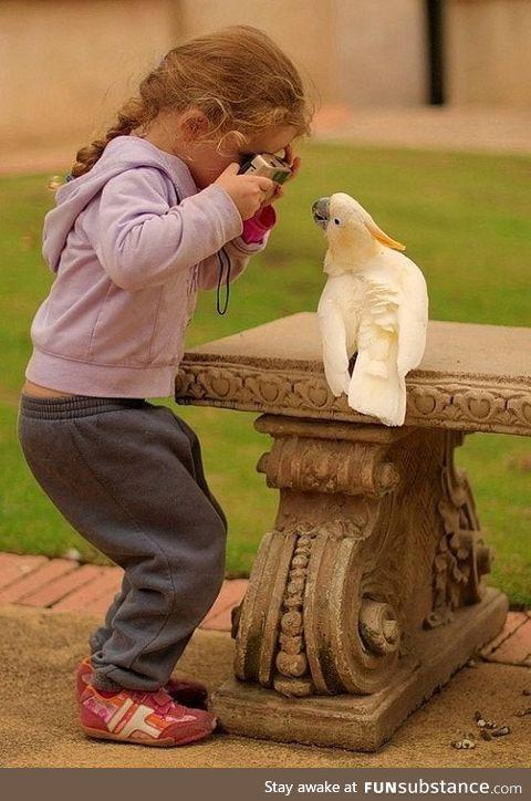 Girl photographing a bird