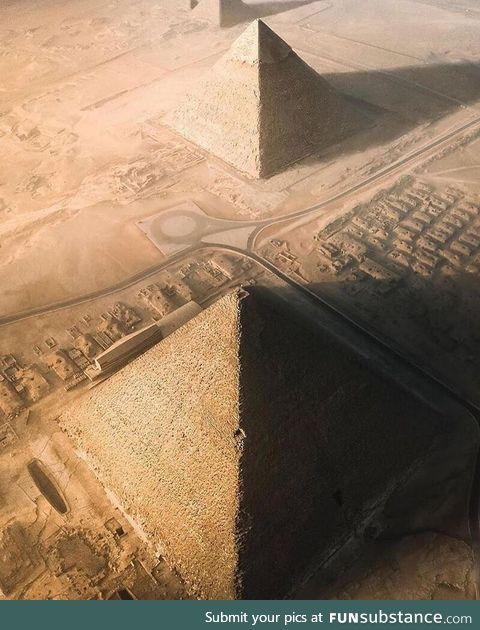 Sunrise over the pyramids of Giza