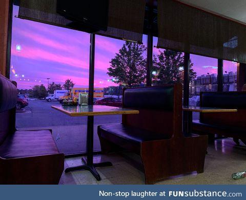Tonight's extremely purple sky in Nashville tonight