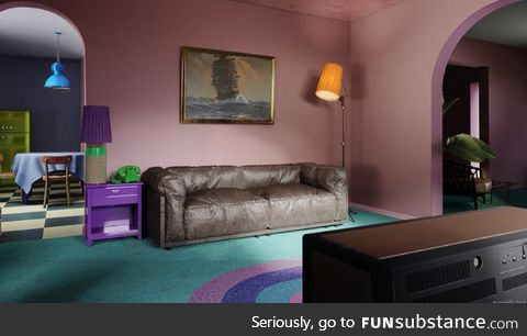 Simpsons lounge room in real life