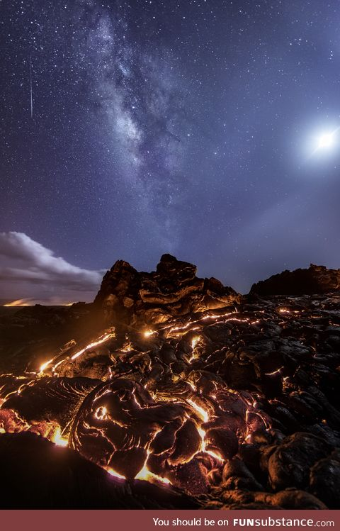 A meteor, the milky way, the moon and the lava flow together!