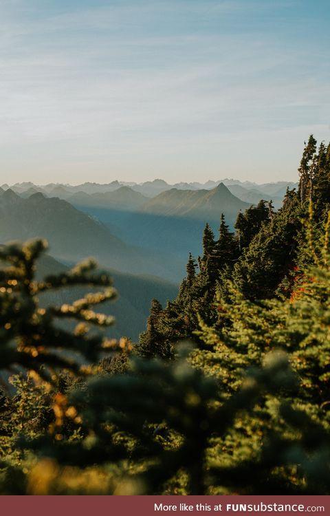Mountain layers at sunset