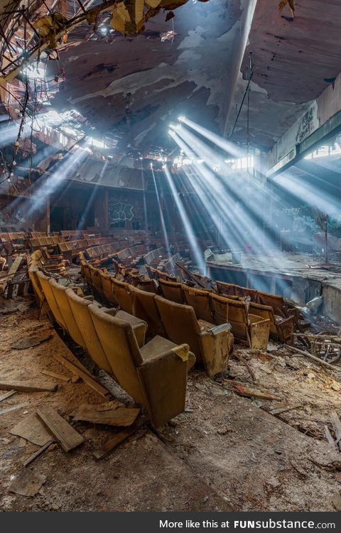 Light Rays Shine in an Abandoned Theater