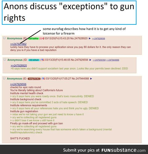 "Anons discuss what happens when gummit ""regulates"" guns"