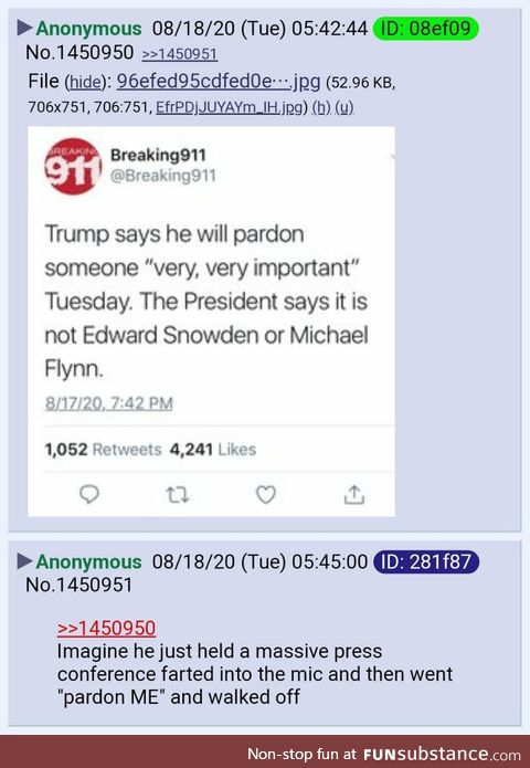 Anon speculates about Trump pardoning someone