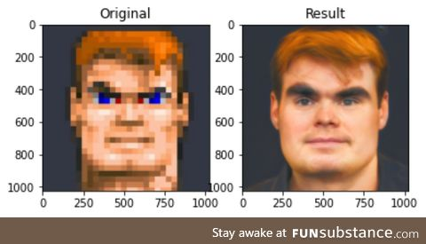 Wolfenstein's BJ Blazkowicz ran through AI driven de-pixelation sofware