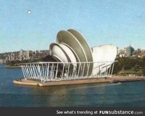 Sydney opera house when first built 1973