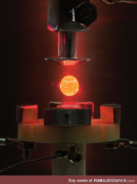 Electrostatically levitated molten metal droplet in a laser furnace