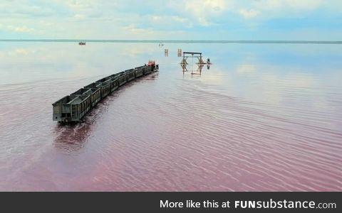 Lake Bursol with working railroad looks like from Ghibli movie