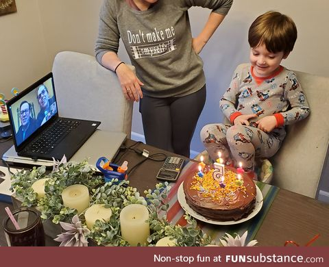 Birthday - quarantine style - grandma and grandpa on video chat