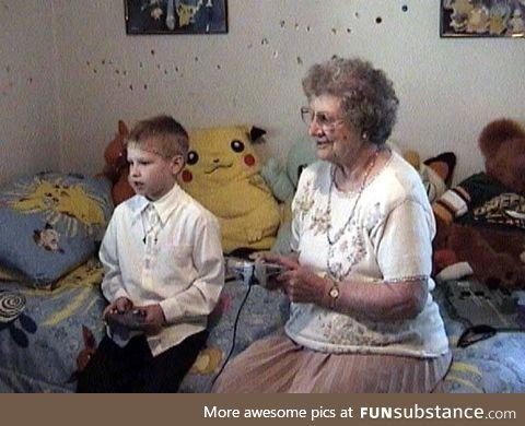 A 6 y/o playing Nintendo 64 with his grandma
