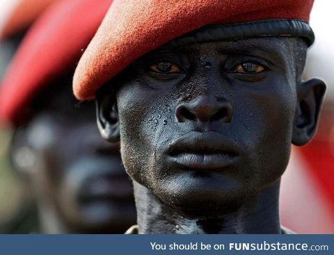 End of a civil war: A Sudanese soldier stands at attention on the eve of South Sudan's