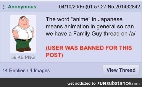 Anon gets banned on /a/