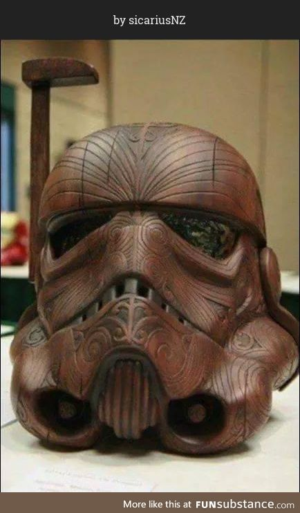 This wood carved Stormtrooper helmet with Māori designs is seriously impressive.