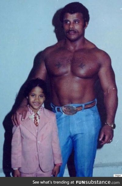 Rocky Johnson and his son, Dwayne