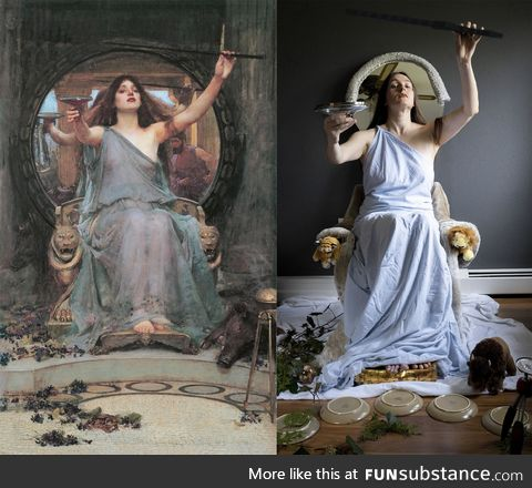 """Famous painting recreation """"Circe Offering the Cup to Ulysses"""" by John William Waterhouse"""