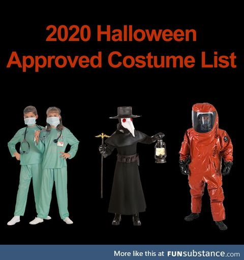 Approved Halloween Costume List for 2020