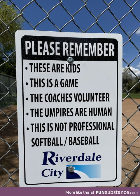 Good reminder to some of the over-aggressive parents at their children's city league