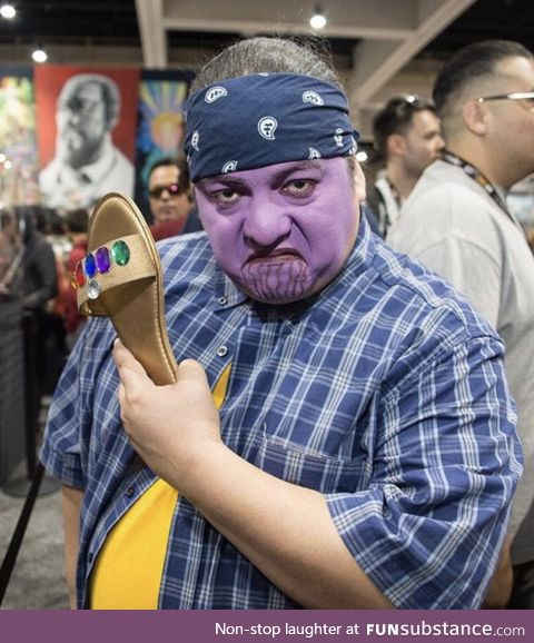 This Cholo Thanos with the Infinity Chancla at Comic Con deserves all the awards