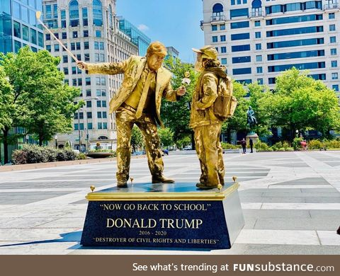 """Artists installed living anti-Trump statues around The White House. """"Now Go Back to"""