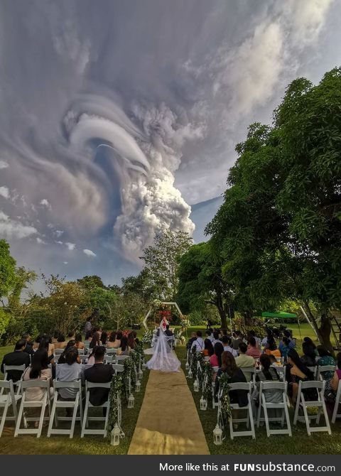 Wedding under volcanic eruption