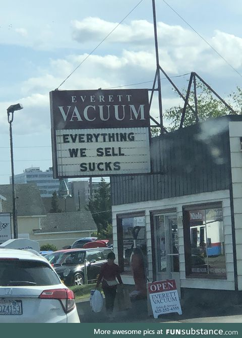 Great sign for a vaccum shop