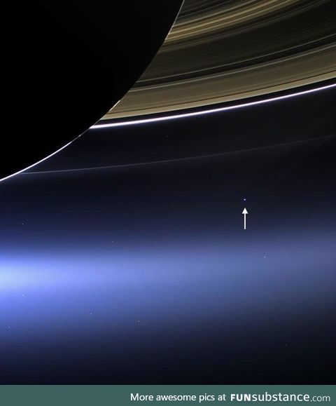 This is what Earth looks like from 1.5 billion kilometers away; The Cassini spacecraft