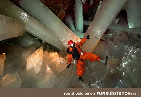 In Giant Crystal Cave, Naica, Mexico (Cueva de los Cristales), there are giant selenite
