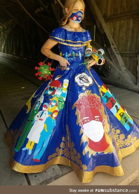 This young woman's 2020 duct tape prom dress is unbelievable