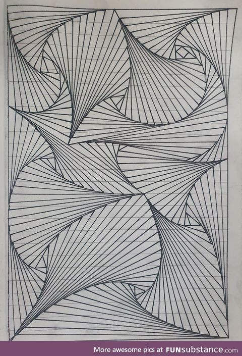 Drawn using only straight lines