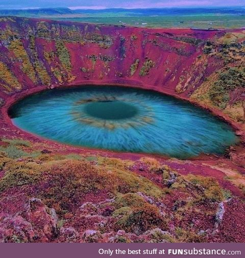 """Kerid Crater Lake in Iceland, known as """"The eye of the world"""""""