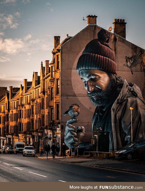 Amazing street art by Smug in Glasgow
