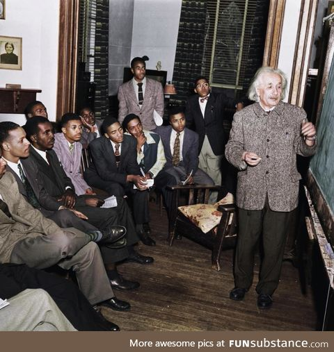 Einstein giving a lecture on relativity in 1946 (after the war, before the civil rights