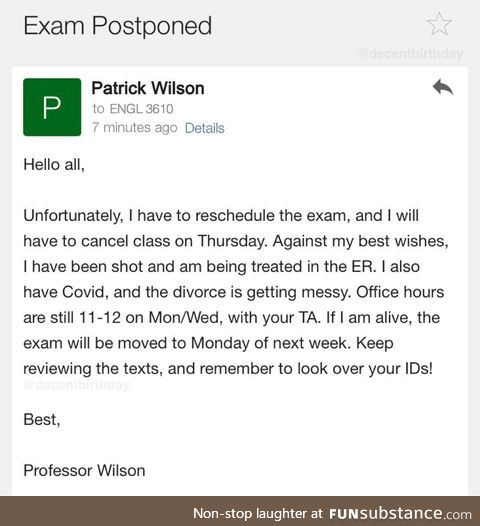 Its been a rough week for Prof Wilson