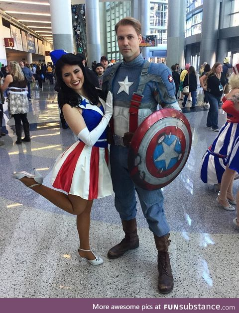 Captain America and Star-Spangled Singer cosplays
