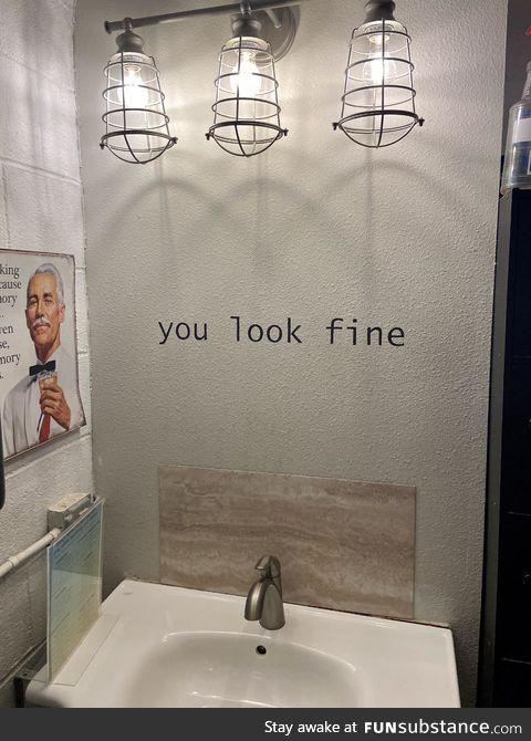 The bathroom with no mirror
