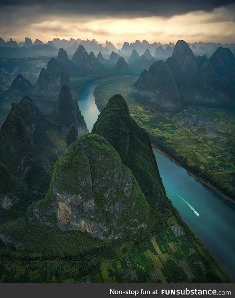 Li River in China, meandering through some amazing mountains