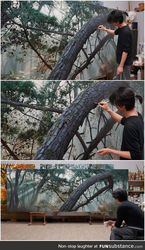 This Korean hyper-realistic painter mainly paints nature. This bark is one of the most