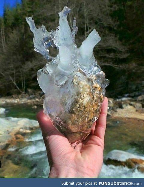 Frozen rock looks like a heart