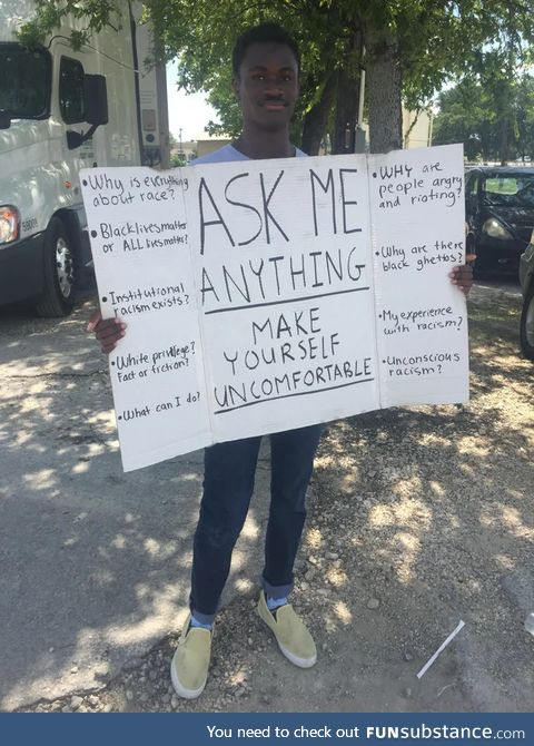 This gentleman in a Texas town open to discussions about racism