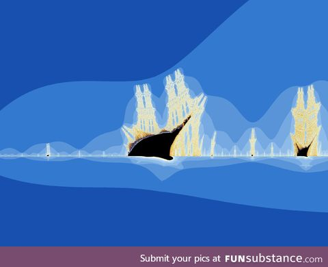 "The ""burning ship"" fractal is similar to the famous Mandelbrot set fractals but"