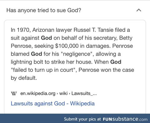 Obviously it's gods fault mr judge