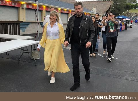 John Travolta and Olivia Newton-John reprise their roles for a Grease sing-along in