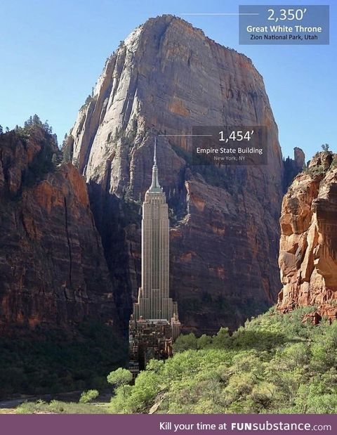 The Empire State Building Vs. The Great White Throne of Zion National Park