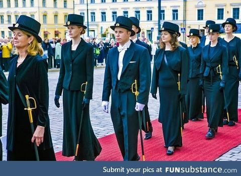 When you get your Doctorate in Finland you get a top hat and a sword for keeps