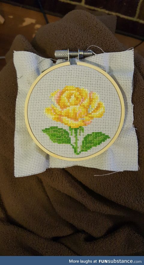 Cross Stitch Yellow Rose