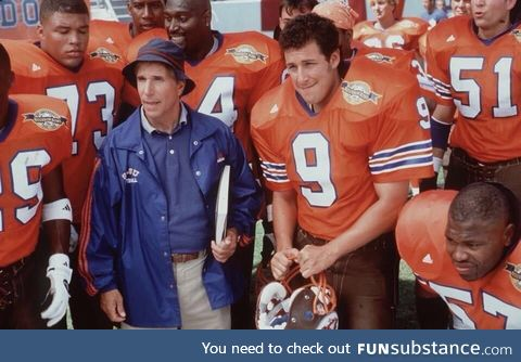 On this date in 1998, Bobby Boucher showed up at halftime and the Mud Dogs won the
