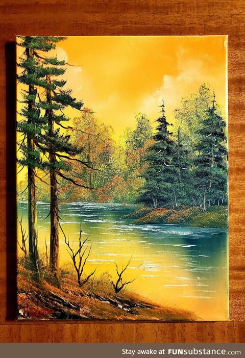 A happy picture of a happy little painting in Bob Ross style